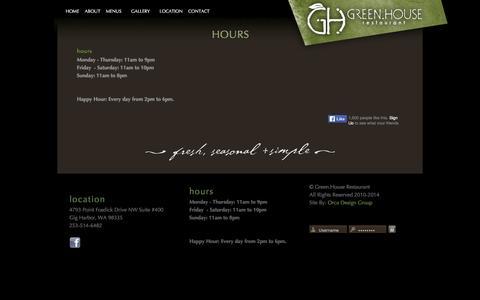 Screenshot of Hours Page greenhousegigharbor.com - Hours - captured June 5, 2016