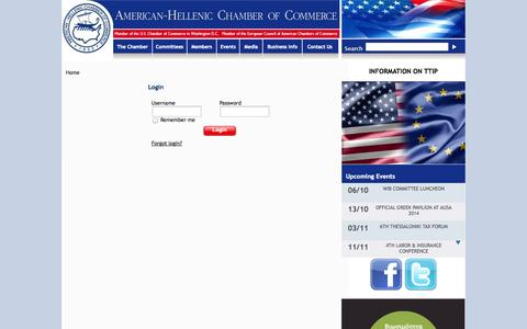 Screenshot of Login Page amcham.gr - American Hellenic Chamber of Commerce - captured Oct. 4, 2014