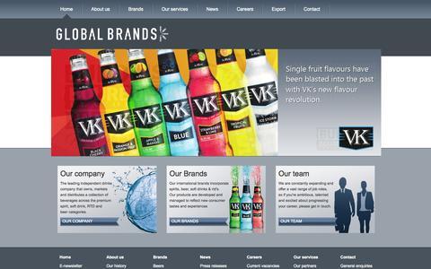 Screenshot of Home Page globalbrands.co.uk - Innovative drinks brand development | Premium Spirits, Beer, Energy drinks | GlobalBrands.co.uk | GlobalBrands.co.uk - captured Oct. 2, 2014