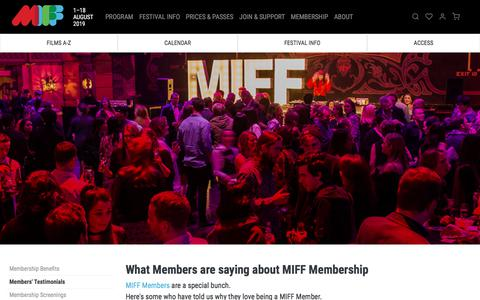 Screenshot of Testimonials Page miff.com.au - Members' Testimonials: What They're Saying About Membership   MIFF 2019 - captured July 12, 2019