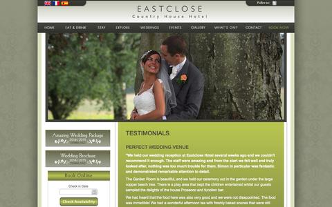Screenshot of Testimonials Page eastclose.com - Eastclose Country Hotel - Testimonials - captured Oct. 1, 2014