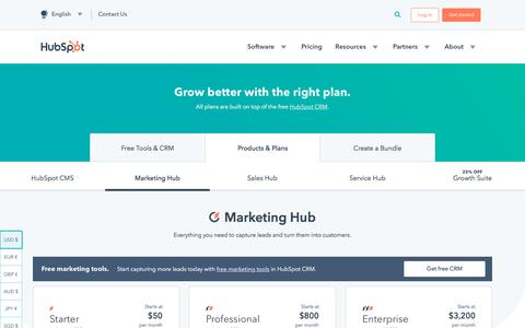Screenshot of Pricing Page hubspot.com - Marketing Software Pricing | HubSpot - captured July 13, 2019