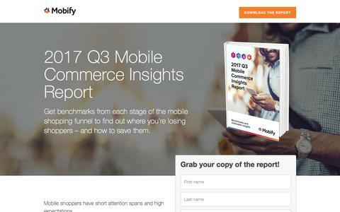 Screenshot of Landing Page mobify.com - Benchmarks Report: 2017 Q3 Mobile Commerce Insights - captured Dec. 5, 2017
