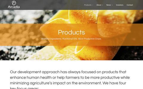 Screenshot of Products Page arcadiabio.com - Products | Arcadia Biosciences - captured Oct. 19, 2018