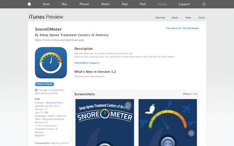 Screenshot of iOS App Page apple.com - SnoreOMeter on the App Store on iTunes - captured Oct. 26, 2014