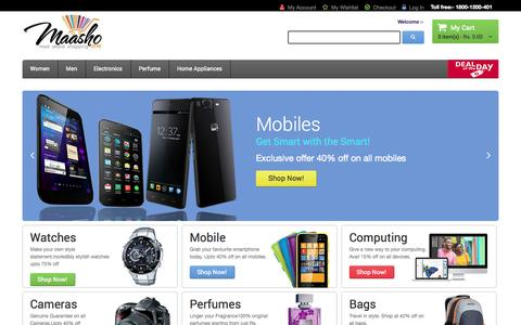 Screenshot of Home Page maasho.com - Online Shopping India – Shop online for branded bags, perfumes, mobile phones, watches, pen drives and More at Maasho.com - captured Sept. 24, 2014