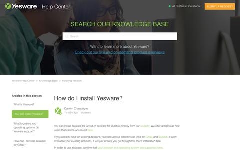 Screenshot of Support Page yesware.com - How do I install Yesware? – Yesware Help Center - captured July 12, 2019