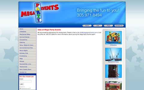 Screenshot of Jobs Page megapartyevents.com - Party Rental Company Jobs in Miami? Hiring Drivers and Staff. Call us for an interview at 305-971-8494. - captured Oct. 27, 2014