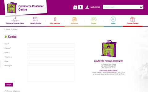 Screenshot of Contact Page commerce-pontarlier.com - Contact - Commerce Pontarlier Centre - captured March 12, 2016