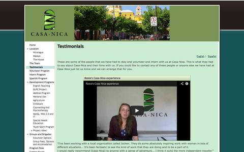 Screenshot of Testimonials Page casa-nica.com - Testimonials - Casa-Nica - captured Sept. 30, 2014