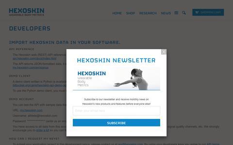 Screenshot of Developers Page hexoskin.com - Developers - Hexoskin API - smart shirt               | Carre Technologies inc (Hexoskin) - captured Jan. 22, 2017