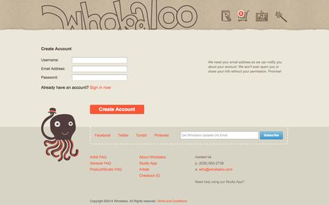 Screenshot of Signup Page whobaloo.com - Whobaloo :: Created by YOU! - captured Oct. 26, 2014