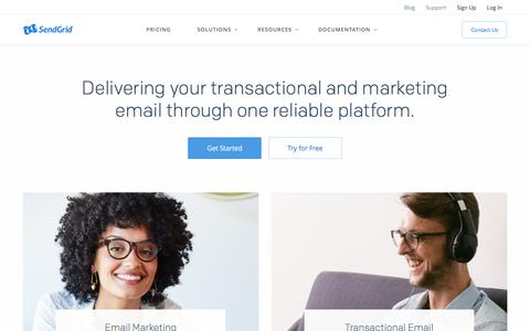 Screenshot of Home Page sendgrid.com - Marketing & Transactional Email Service | SendGrid | SendGrid - captured May 26, 2016