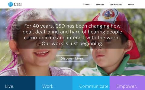 Screenshot of Home Page c-s-d.org - Home | Communication Service for the Deaf - captured July 17, 2015