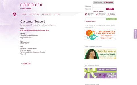 Screenshot of Support Page namastepublishing.com - Customer Support | Namaste Publishing - captured Sept. 23, 2014
