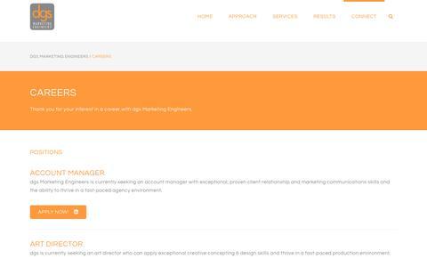 Screenshot of Jobs Page dgsmarketingengineers.com - dgs Marketing Engineers |   Careers - captured Aug. 9, 2018