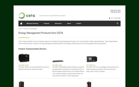 Screenshot of Products Page cetameter.com - Energy Management Products from CETA | CETA - captured Oct. 1, 2014