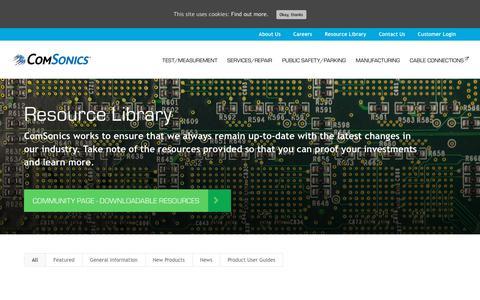 Screenshot of Press Page comsonics.com - Resource Library - ComSonics - captured Aug. 14, 2019