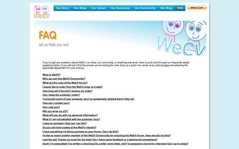 Screenshot of FAQ Page wecv.co.uk - Check our FAQ section - captured Oct. 1, 2014