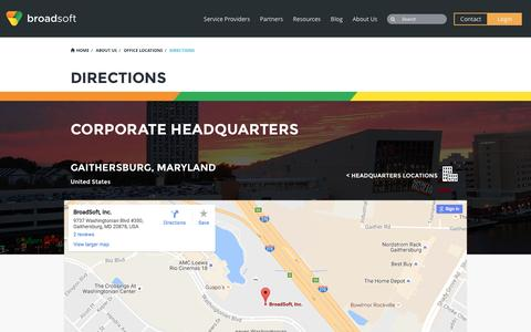 Screenshot of Maps & Directions Page broadsoft.com - Directions - BroadSoft - captured Sept. 17, 2016