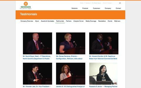 Screenshot of Testimonials Page newgensoft.com - Testimonials - Newgen Software - captured Sept. 12, 2014