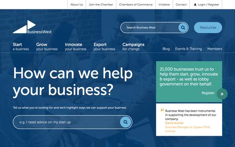 Screenshot of Home Page businesswest.co.uk - Business West | Helping business to start, innovate & export - captured June 3, 2017
