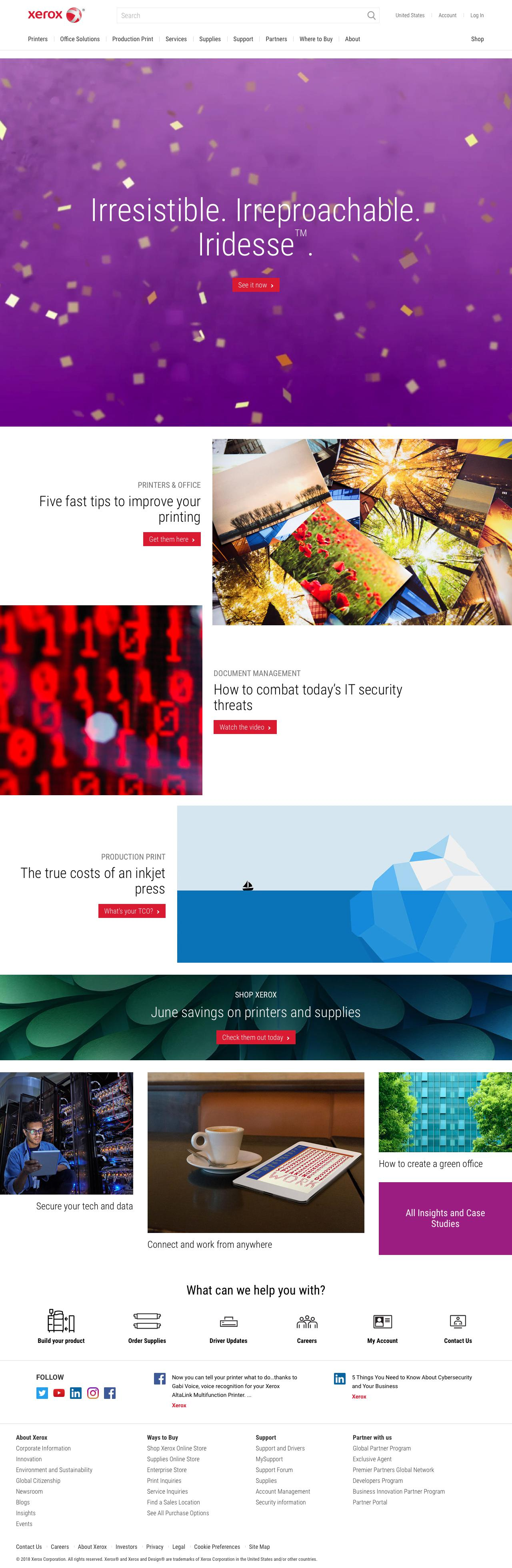 Screenshot of xerox.com - Business Services and Digital Printing Solutions – Xerox - captured June 4, 2018