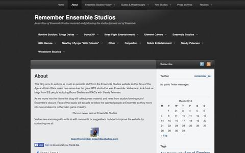 Screenshot of About Page remember-ensemblestudios.com - About | Remember Ensemble Studios - captured March 12, 2016