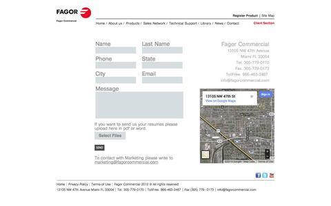 Screenshot of Contact Page fagorcommercial.com - Fagor Commercial -  Contact Us - captured Sept. 30, 2014