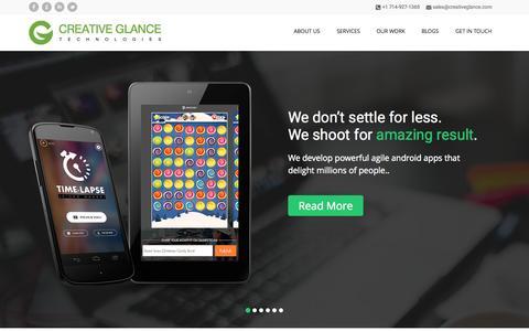 Screenshot of Home Page creativeglance.com - Android & iOS App Development Company, Open Source Customization - captured Sept. 18, 2015