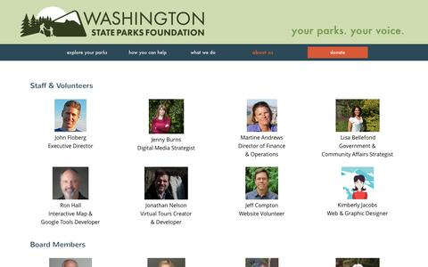 Screenshot of Team Page wspf.org - Our Team | Washington State Parks Foundation - captured June 21, 2016