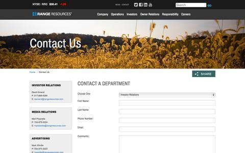 Screenshot of Contact Page rangeresources.com - Range Resources - Contact Us - captured Nov. 21, 2015
