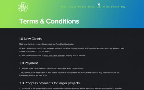 Screenshot of Terms Page pictura.com.au - Terms and Conditions - Pictura Creative - captured Dec. 8, 2015