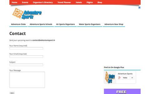 Screenshot of Contact Page adventuresport.in - Adventure Sports India :: Online Adventure Directory - captured Oct. 4, 2014