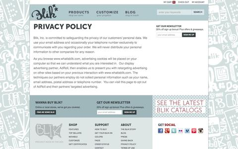 Screenshot of Privacy Page whatisblik.com - Privacy Policy » Official Blik Store: Buy Wall Decals, Wall Stickers, Wall Graphics - captured Sept. 23, 2014