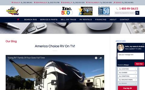 Screenshot of Blog americachoicerv.com - RV Blog | America Choice RV - captured Sept. 26, 2017