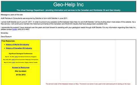 Screenshot of Home Page geohelp.net - Geo-Help Home Page - captured Oct. 2, 2014