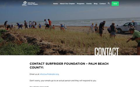 Screenshot of Contact Page surfrider.org - Palm Beach County Chapter - Surfrider Foundation - captured Oct. 25, 2017