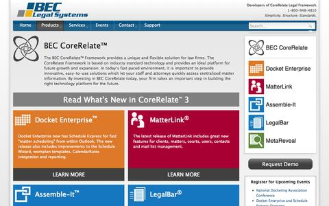 Screenshot of Products Page beclegal.com - Products - captured Oct. 4, 2014