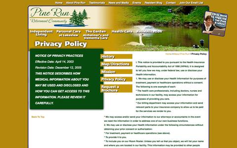 Screenshot of Privacy Page pinerun.org - Privacy Policy | Pine Run - captured Oct. 2, 2014