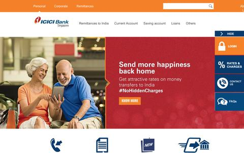 Screenshot of Home Page icicibank.com.sg - ICICI Bank Singapore - Personal Banking|Net Banking|Corporate Banking - captured Aug. 8, 2017