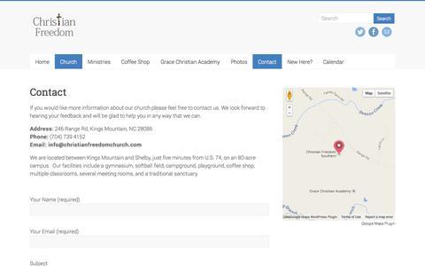 Screenshot of Contact Page christianfreedomchurch.com - Contact   Christian Freedom Church - captured Nov. 1, 2014