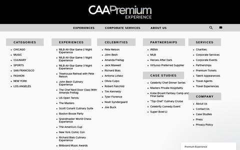 Screenshot of Site Map Page caa.com - Premium Experience says... - captured May 1, 2017