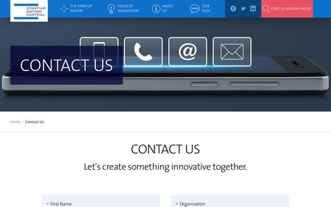 Screenshot of Contact Page startupnationcentral.org - Contact Us | Start-Up Nation Central - captured Sept. 21, 2018