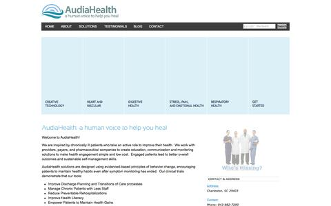 Screenshot of Home Page audiahealth.com - AudiaHealth - a human voice to help you heal - captured Sept. 14, 2015