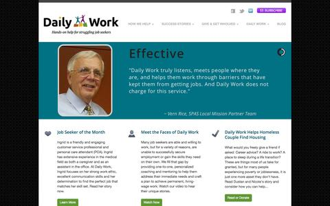 Screenshot of Home Page daily-work.org - Daily Work | Minnesota Nonprofit | Helping Job Seekers - captured Oct. 5, 2014