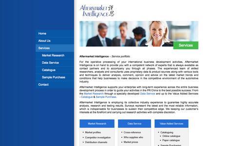 Screenshot of Services Page afmkt.com - Services - Aftermarket Intelligence - captured Oct. 4, 2014