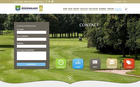 Screenshot of Contact Page zeegersloot.nl - Contact - Golfclub Zeegersloot - captured Nov. 11, 2016