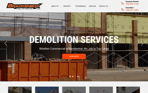Screenshot of Home Page brackenbox.com - Chicago Dumpster Rental Located in Markham - Brackenbox - captured Nov. 13, 2018