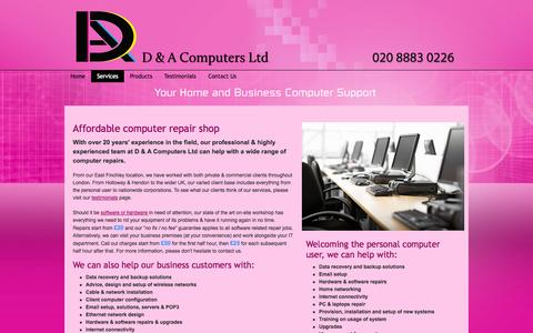 Screenshot of Services Page dacomputers.co.uk - Professional Laptop & Computer Repairs - London - captured Oct. 2, 2014